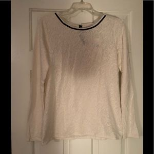 NWT LOFT jacquard lace long sleeved top